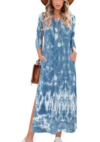 Tie Dye Blue O-Neck 3/4 Sleeve Split Long Dress