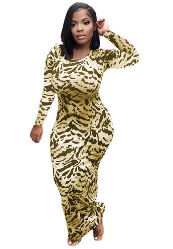 Leopard Print Long Sleeves O-Neck Midi Bodycon Dress