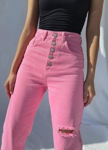 Pink Bottons Up Distressed High Waist Jeans