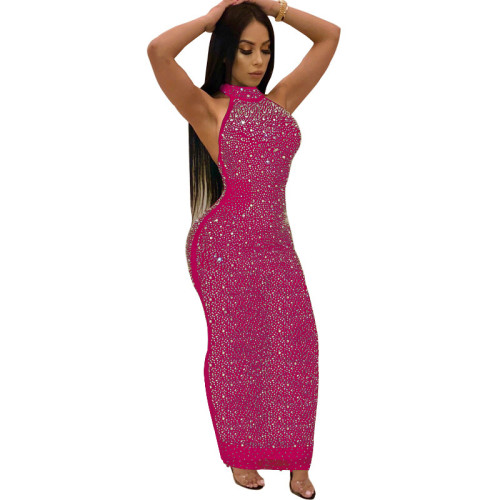 Hot Pink Rhinestone Halter Bodycon Maxi Dress