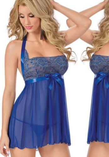 Blue Lace Chiffon Bow-Tie Halter Lingerie