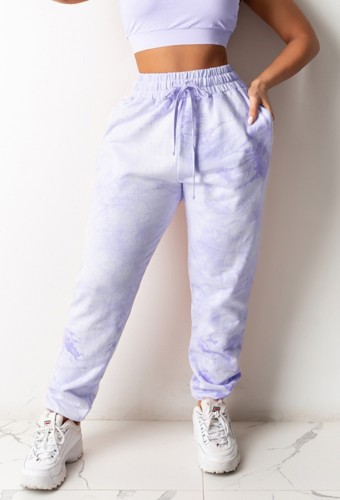 PurpleTieDyeDrawstringsHigh Waist Sweatpants