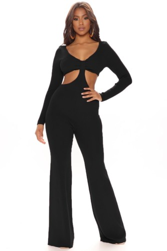 Black Cut Out Long Sleeve V-Neck Sheath Jumpsuit