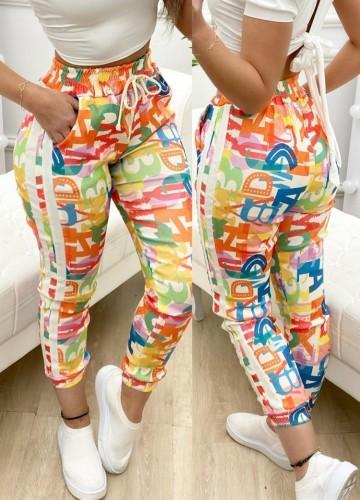 Multicolor Letter Print Drawstrings Pants