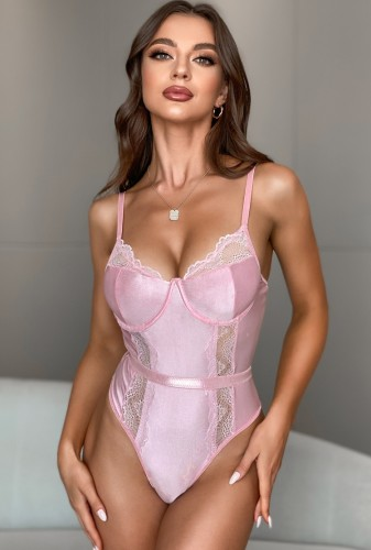 Pink Lace Patchwork Underwear Cami Teddy Lingerie