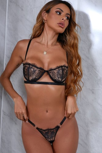 Black Lace Underwear Bra and O-Ring Panty Lingerie Two Piece Set