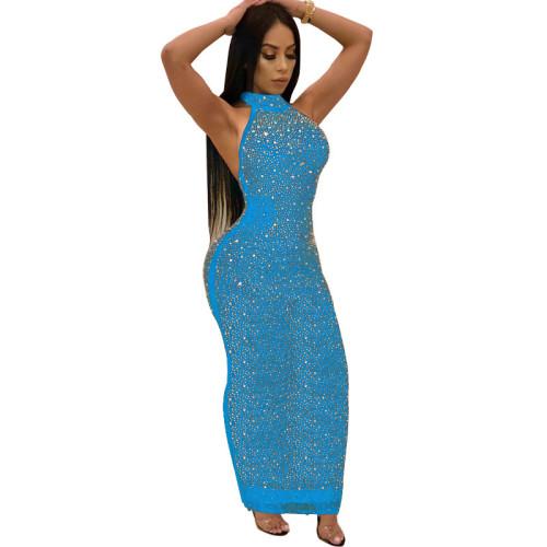 Light Blue Sexy Rhinestone Halter Bodycon Maxi Dress