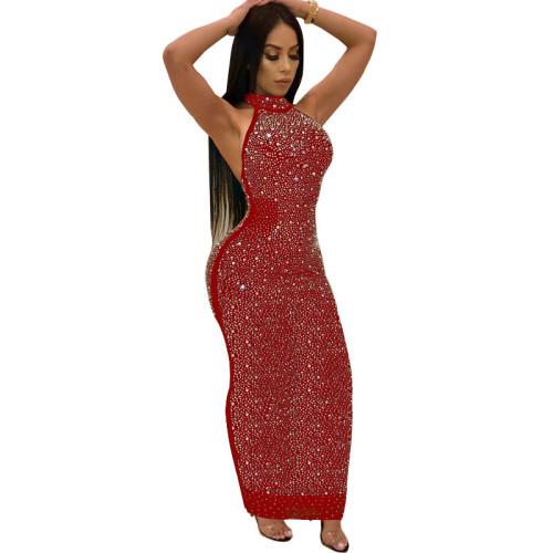 Red Sexy Rhinestone Halter Bodycon Maxi Dress