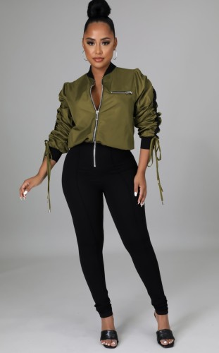 Green and Black Zipper Up Long Sleeve Stand Collar Slim Fit Jumpsuit