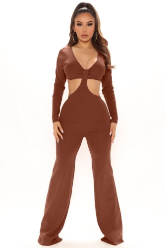 Brown Cut Out Long Sleeves V-Neck Sheath Jumpsuit