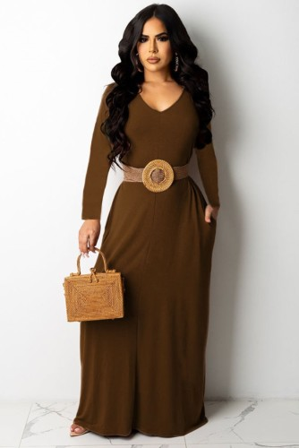 Brown V-Neck Cozy Maxi Dress