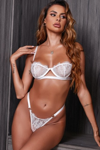 White Lace Underwear Bra and O-Ring Panty Lingerie Two Piece Set
