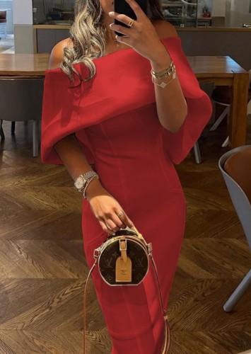 Trendy Red Off Shoulder Cape Sheath Long Dress