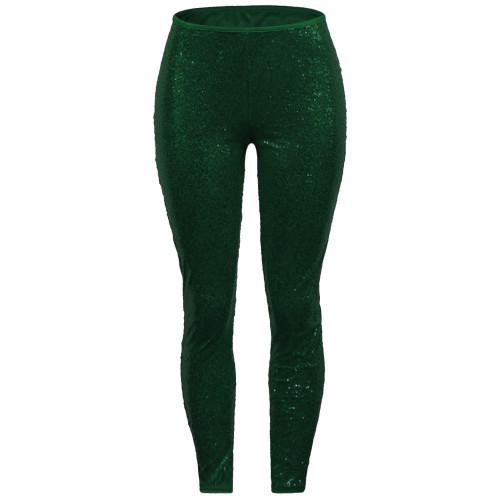 Sexy Sequin Green Bodycon Party Pants