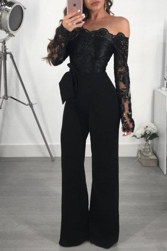 Formal Black Lace Applique Deep V Jumpsuit