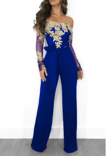 Formal Blue Contrast Lace Applique Deep V Jumpsuit