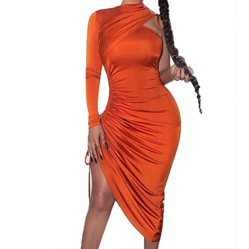 Orange Drawstring Ruched Irregular Dress with Single Sleeve