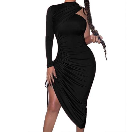 Black Drawstring Ruched Irregular Dress with Single Sleeve