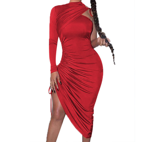 Red Drawstring Ruched Irregular Dress with Single Sleeve