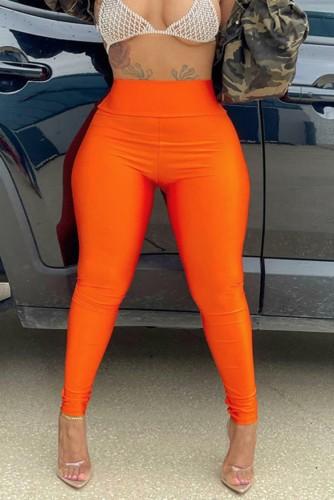 Orange High Waist Slim Fit Leggings