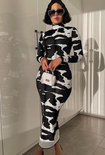 Black And White Print Long Sleeve Turtleneck Skinny Long Dress