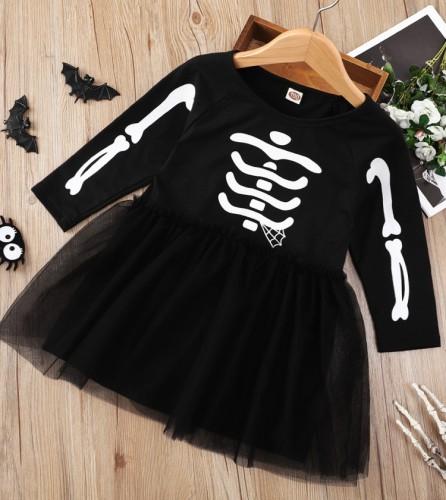 Kids Girl Black Print Halloween Chiffon Hem Dress