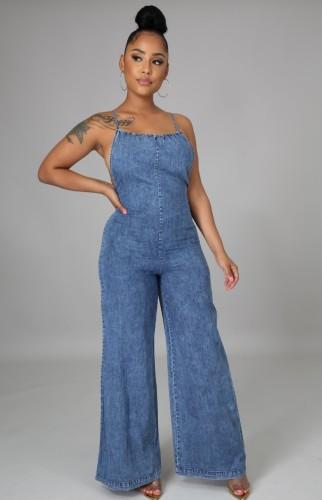 Blue Cami Backless Wide Bottom Denim Jumpsuit