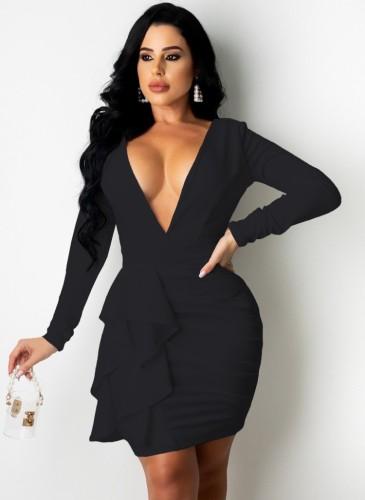 Black Deep-V Long Sleeve Ruffled Ruched Slinky Dress