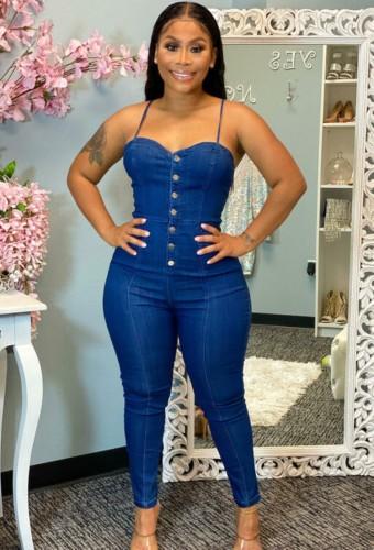 Blue Button Up Cami Tight Denim Jumpsuit