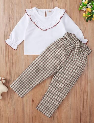 Kids Girl White Ruffle O-Neck Shirt and Plaid Print Pants with Belt Three Piece Set