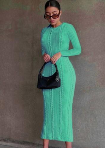 Cyan Knitted Long Sleeve O-Neck Slinky Long Dress