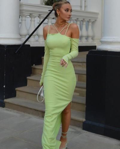 Green Off Shoulder Cami Long Sleeve Slit Maxi Dress