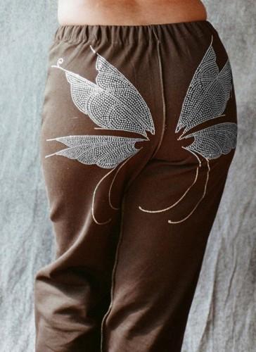 Wings Beaded Brown High Waist Sweatpants