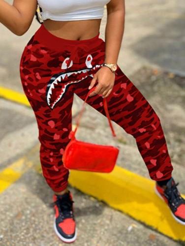 Print Red Camou High Rise Drawstring Sweatpants