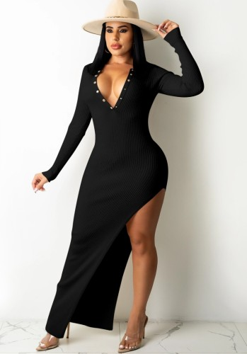 Black Ribbed Snap Button Blackless Irregular Slit Maxi Dress