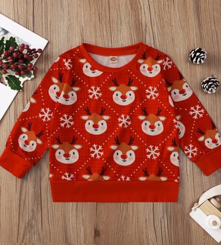 Kids Girl Print Christmas Red Long Sleeves O-Neck Shirt