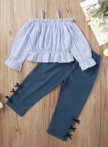 Kids Girl Stripes Blouson Cami Top and Solid Plain Pants Two Piece Set