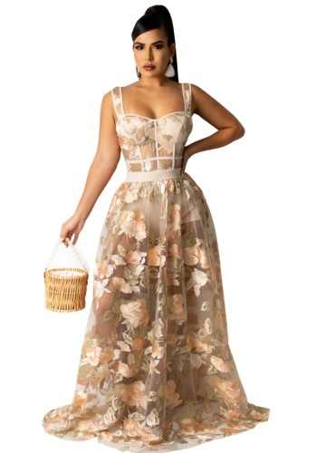 Floral Appliqued Beige Mesh Tank Top and Maxi Skirt Two Piece Set