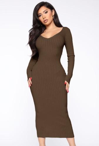Brown Ribbed V-Neck Long Sleeves Long Bodycon Dress