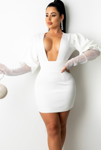 White Plunge Neck Mesh Patched Bubble Sleeve Backless Tight Dress