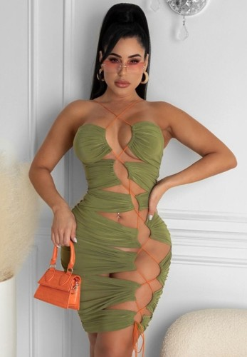 Green Lace Up Bodycon Dress