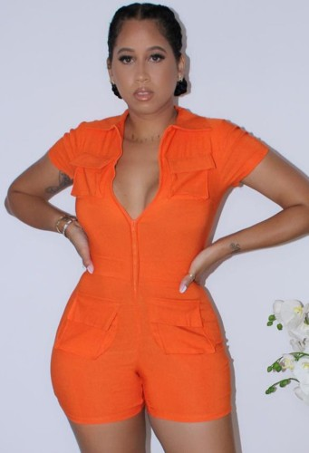 Orange Turndown Collar Short Sleeves Zipper Up Rompers with Pockets