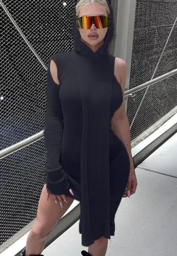 Black Single Shoulder Hoody Irregular Midi Dress