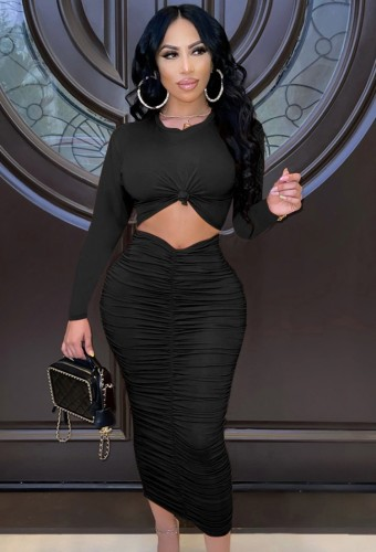 Black Twist O-Neck Cut Out Long Sleeve Ruched Tight Long Dress