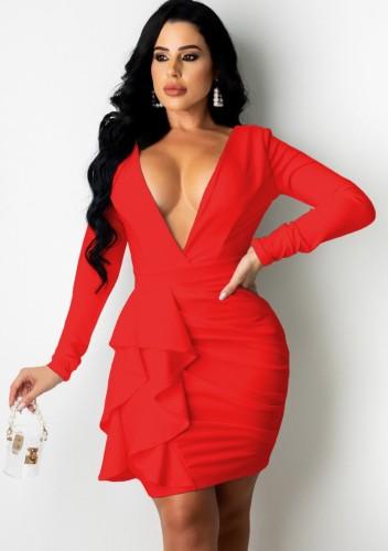 Red Deep-V Long Sleeve Ruffled Ruched Slinky Dress