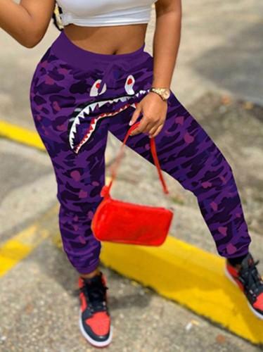 Print Purple Camou High Rise Drawstring Sweatpants