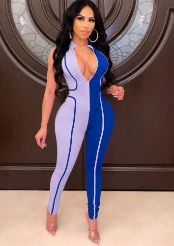 Blue Contrast Sleeveless Zipper Up Tight Jumpsuit