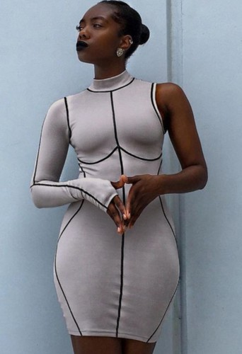 Print Lines One Sleeve Turtleneck Fitted Dress