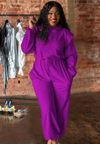 Purple Drawstrings Long Sleeve Loose Jumpsuit