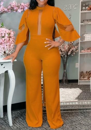 Orange Mesh Insert Wide Leg Jumpsuit